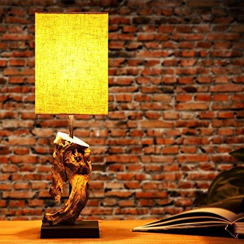 DESIGN DELIGHTS TISCHLEUCHTE CORTEZA 45 cm aus Treibholz mit Leinenschirm sand